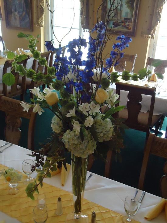 Yellow - blue - Whites... Tall Flowers at Lake Lure Inn.  anenglishflowerco...