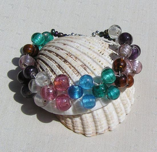 Beaded Silverfoil Woven 'Rainbow' Bracelet by SunnyCrystals, £11.75 #jewelry #jewellery #bracelet #sunnycrystals #blue #pink #amber #white