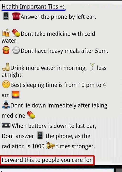 Important HEALTH tips  ? ? ?