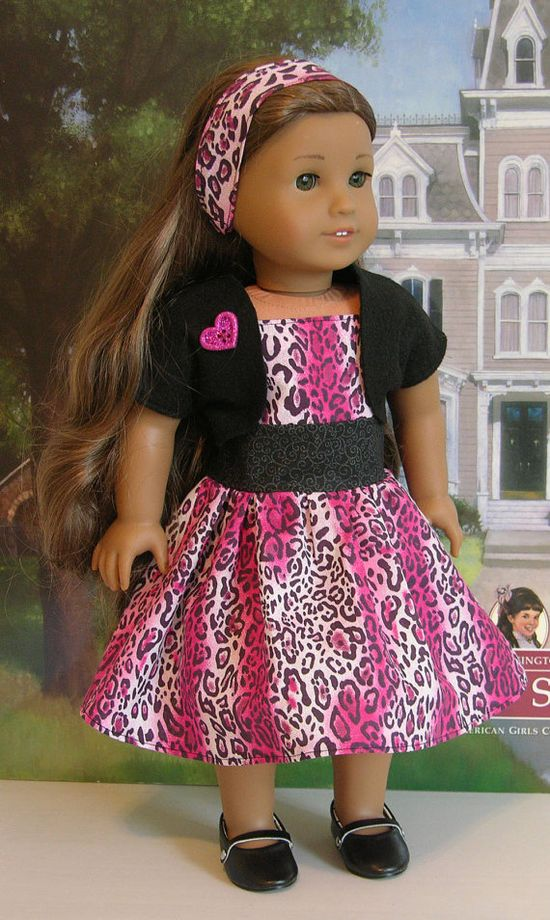 Miss Kitty Dress for American Girl doll with shrug. $37.00, via Etsy.