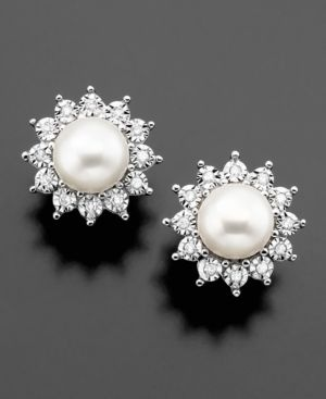 14k White Gold Earrings, Cultured Freshwater Pearl and Diamonds via Macys. So gorgeous!