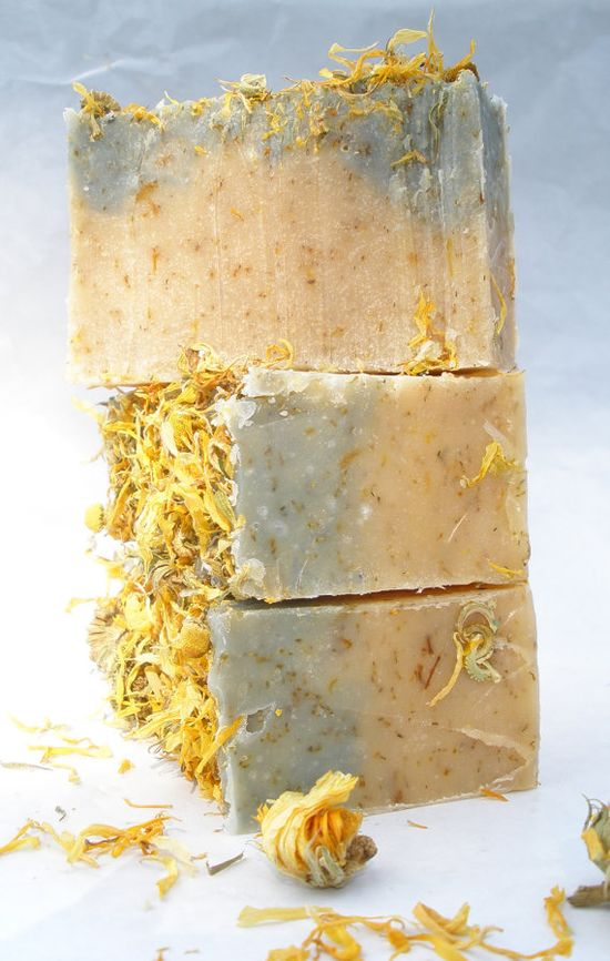 Chamomile Tea & Calendula Handmade Cold Process Soap with cocoa and shea butter (Vegan Friendly)