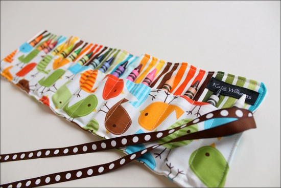 New-Spring Chicks Crayon Roll-16 Crayola Crayons Included-Great Gift-Great Easter Basket Gift. $12.00, via Etsy.