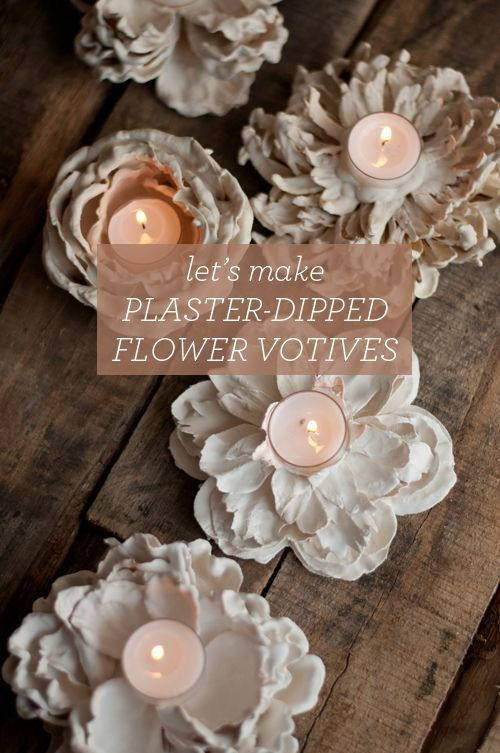 DIY: Plaster Dipped Flower Votives . BEAUTIFUL .- I giving these for many on my Christmas list