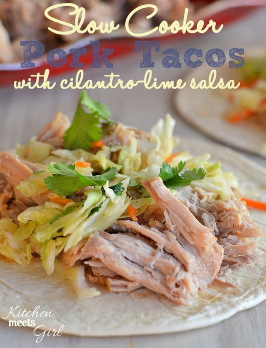 Slow Cooker Pork Tacos with Cilantro-Lime Salsa