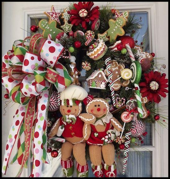 Gingerbread Christmas Wreath - 30 Beautiful And Creative Handmade Christmas Wreaths