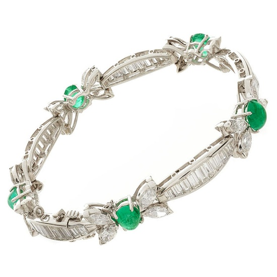 Platinum, Emerald & Diamond Bow Bracelet