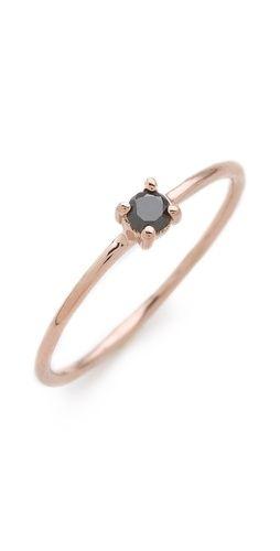 blanca monros gomez Brilliant Cut Black Diamond Solitaire Ring