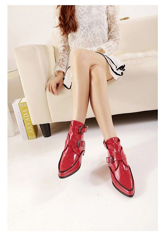 wholesale Leather boots buckle personalized west style girls shoes CZ-4663