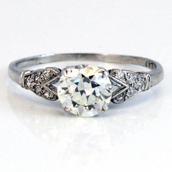 Platinum Antique Edwardian European Cut Diamond Engagement Ring