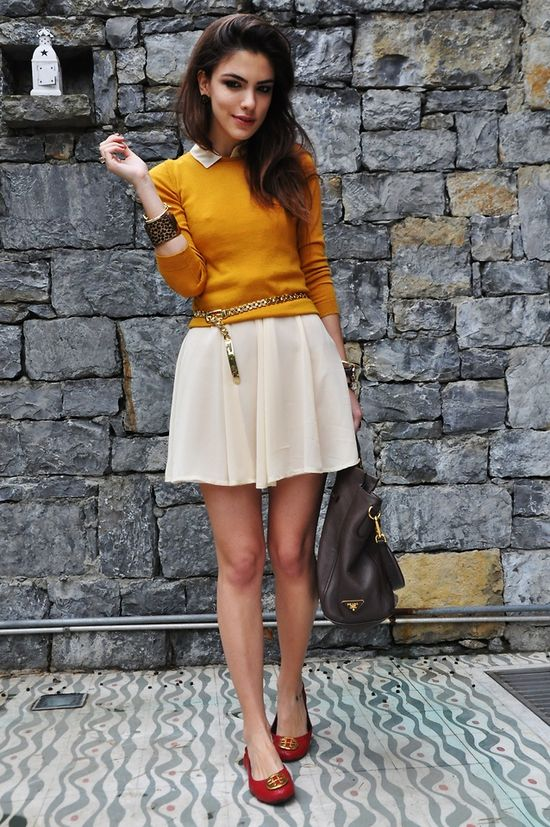 Mustard sweater & red flats