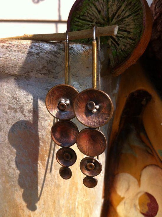 Milled Brass Handmade Earrings with by RollingStonesJewelry