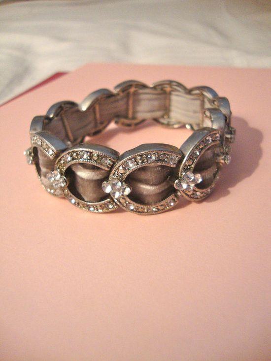 Vintage Rhinestone Bracelet Expandable Bracelet by CrimsonVintique, $36.00
