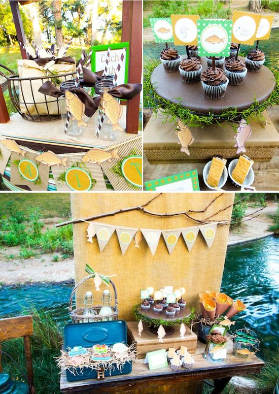 Gone Fishiing themed birthday party via Karas Party Ideas KarasPartyIdeas.com #gone #fishing #fish #fisherman #themed #party #ideas #fathers #day #dad