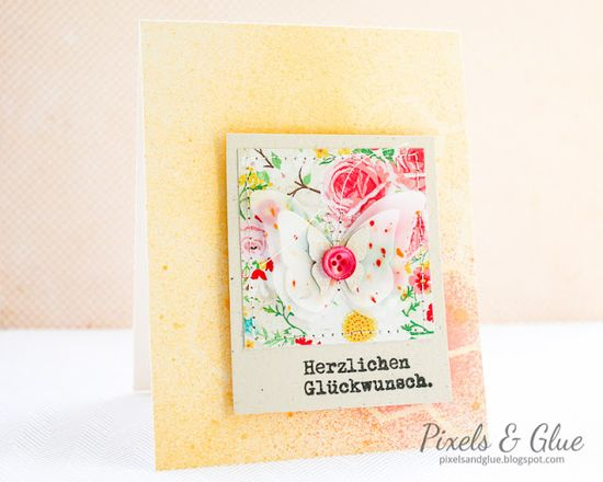 Handmade birthday card with vellum butterfly and misted background by @pixnglue