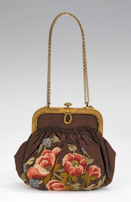 vintage 1920s-1930s silk and metal purse