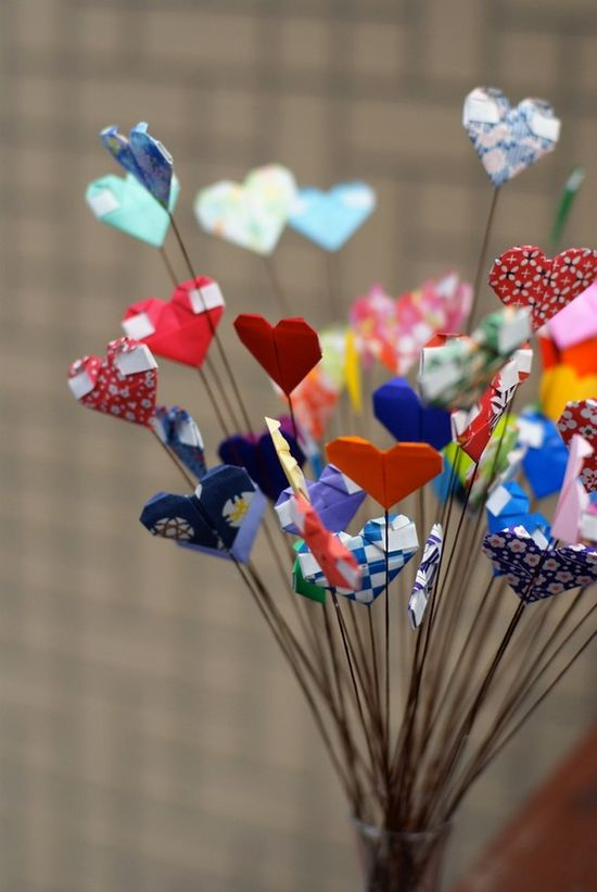 Origami paper hearts bouquet.