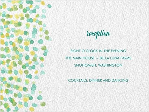Watercolor Dots Reception Card