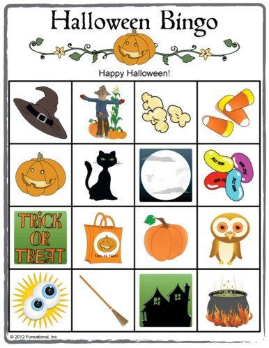 Halloween Picture Bingo. Great for kids Halloween parties or classroom parties