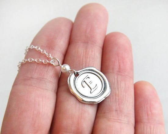 Wax Seal Necklace with White Pearl Initial by KapKaDesign on Etsy, $28.00
