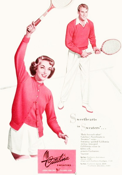 Sweethearts in sweaters - Catalina matching sweater sets, 1946. #vintage #1940s #tennis #fashion