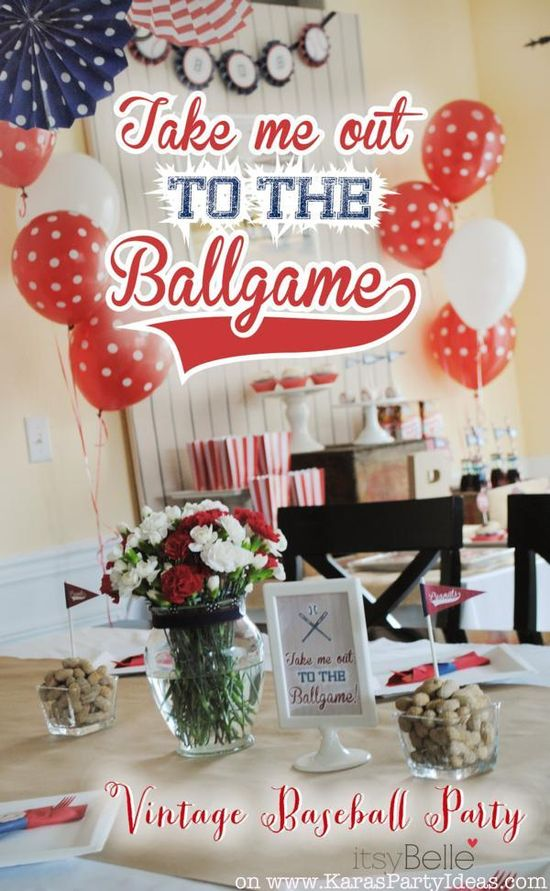 Take me out to the ballgame BASEBALL themed birthday party via Karas Party Ideas KarasPartyIdeas.com #baseball #boy #birthday #party #idea #decoration #ideas