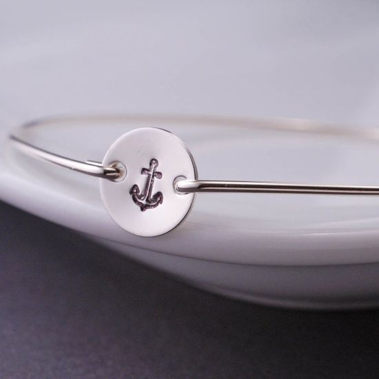 Sterling Silver Nautical Anchor Bangle Bracelet by georgiedesigns