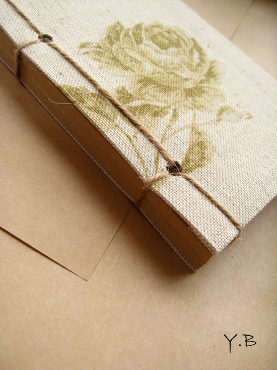 handmade journal using fabric as cover