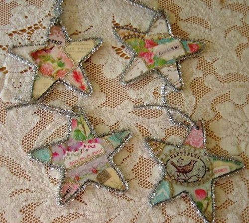 Tinsel Star Ornaments...would be so cute made from vintage children's book pages!