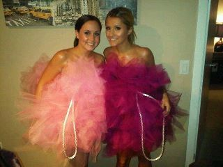 Bath puff (loofah) costume....Easy DIY-My daughter made this herself from pink netting.