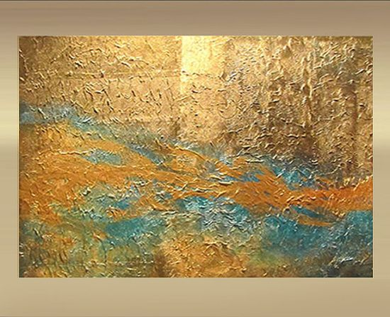 Large Original abstract art painting metallic gold by leearte, $375.00