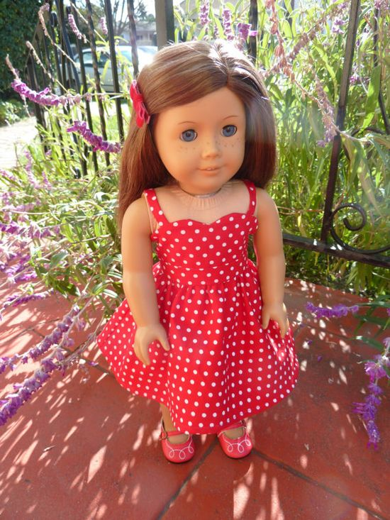 American Girl Doll Clothes  Love Me Tender red by AccordingtoEmma, $19.00. polka dot party dress with a sweetheart neckline, gathered waistline, lined bodice, full skirt, and a velcro back closure for easy dressing