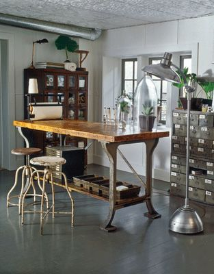 "This is described as ""industrial country living"" ........ love the metal and wood combination."