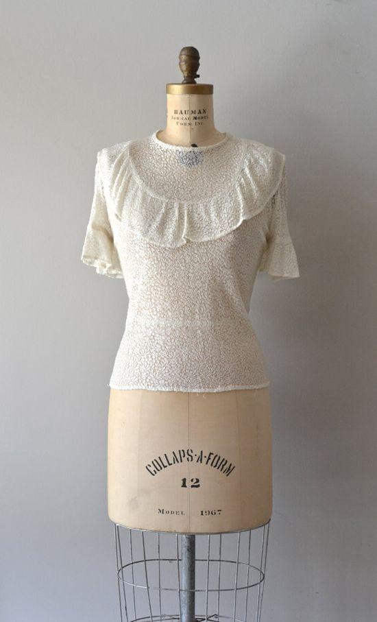 vintage 40s blouse / 1940s lace blouse / sheer lace by DearGolden