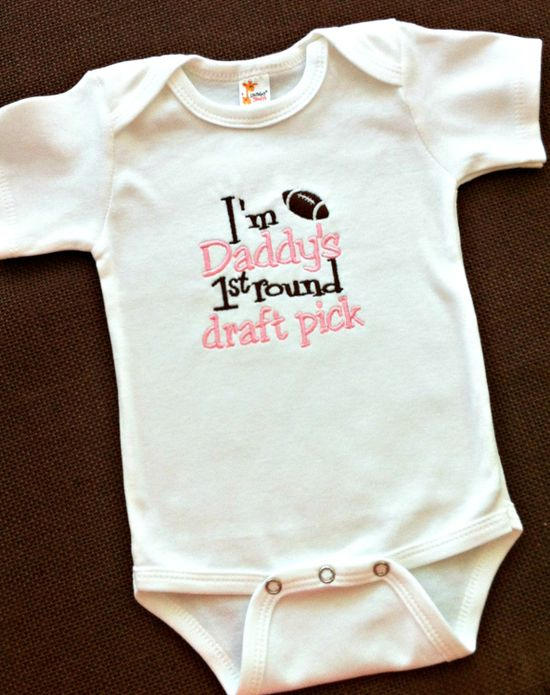 Baby Girls Onesie or Shirt- Outfit - Baby Shower Gift - Football - Sports - Daddys First Round Draft Pick - Bodysuit - Newborn - Toddler