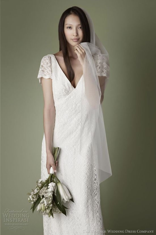 1930s style Bellville lace over satin slip dress. shown with lace short sleeves. The Vintage Wedding Dress Co. Fall 2013.