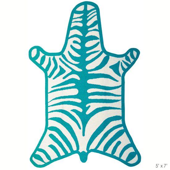 Jonathan Adler Zebra Turquoise Rug @Zinc_Door #zincdoor #turquoise #colorcrave #zebra