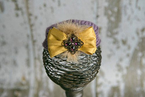 Purple and Gold Pillbox Hat Vintage Style Photo Prop