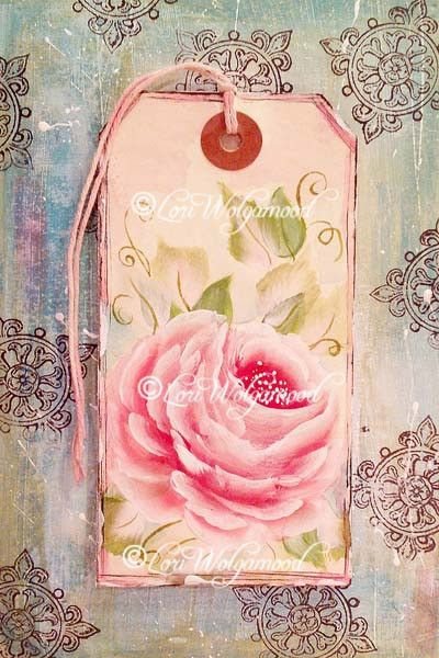 Rose Painted on Tag Framed - Acrylic - Watercolors -  Vintage Nest Designs, Creative Handmade and Hand Painted Designs