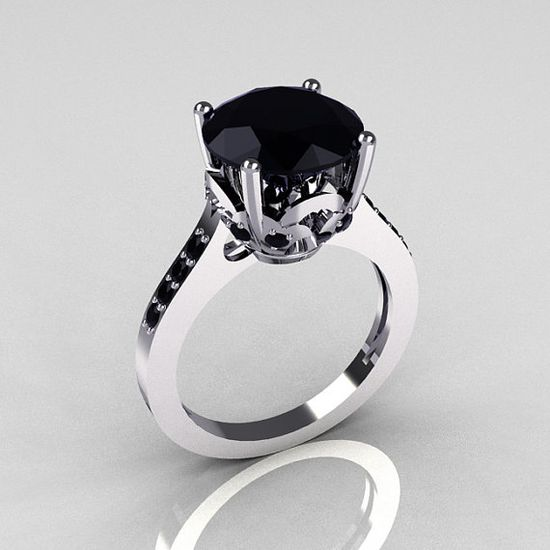 Classic 14K White Gold 35 Carat Black Diamond by artmasters, $849.00