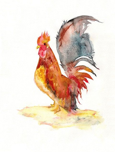 Rise and Shine Red Rooster/ Watercolor Print by kellybermudez