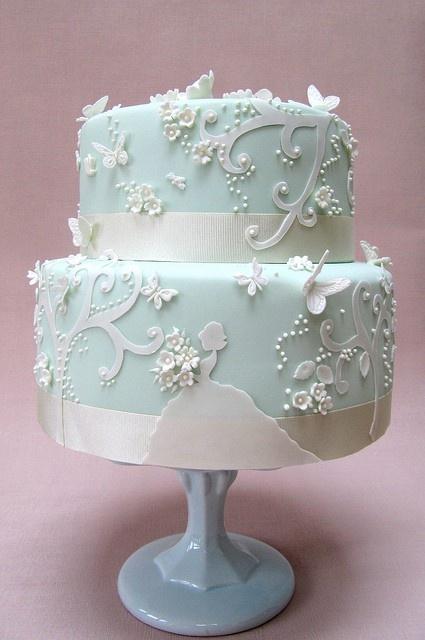 #cake #baby blue #wedding #butterflies