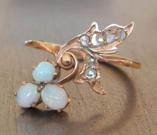 Antique Opal and Rose Cut Russian Diamond Ring. Via Diamonds in the Library.