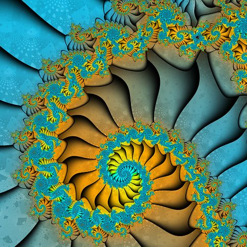 Fractal spiral in blue & yellow