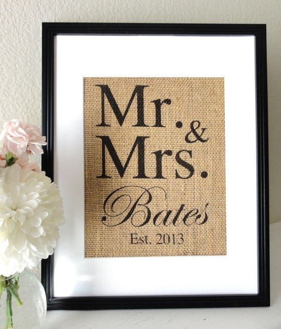 Burlap Art Personalized Mr and Mrs Gift for Weddings by 505Vintage, $20.00