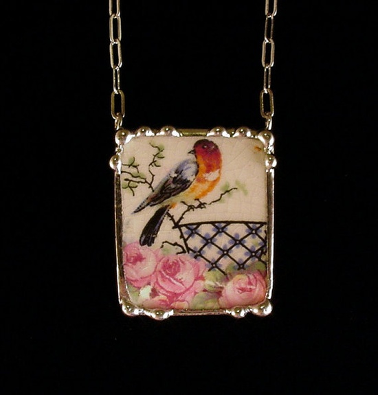 Broken china jewelry necklace by Dishfunctional Designs. Made from a broken plate, antique robin and roses