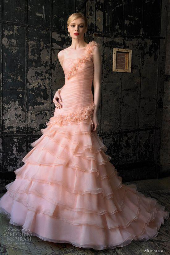 moonlight bridal collection fall 2012 peach pink wedding dress