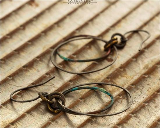 Oxidized Sterling Silver Hoop Earrings - Jewelry by Jason Stroud.