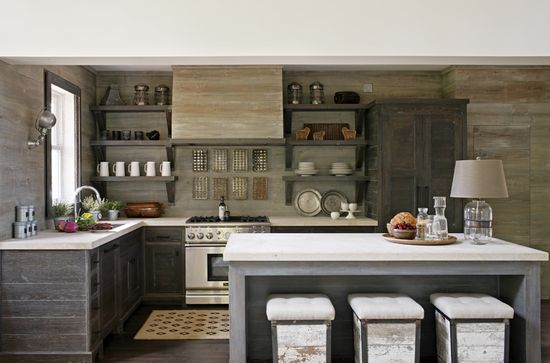 Weathered grey cabinets and walls in kitchen