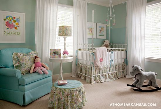 turquoise and pink nursery